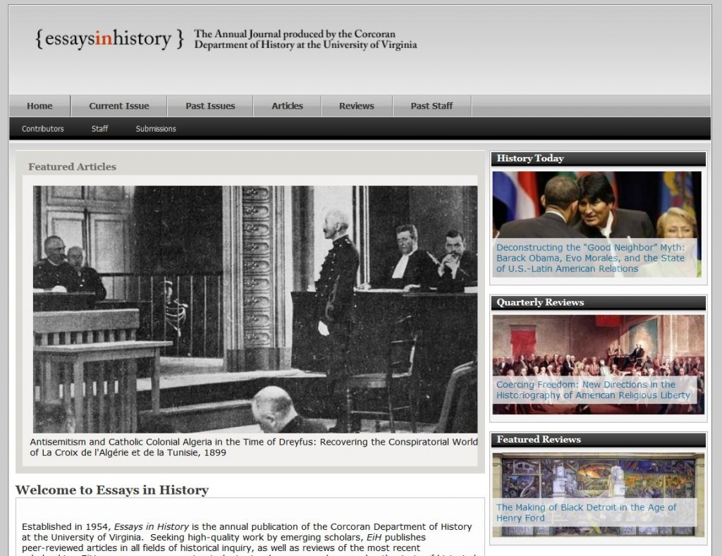 Essays in History Main Page