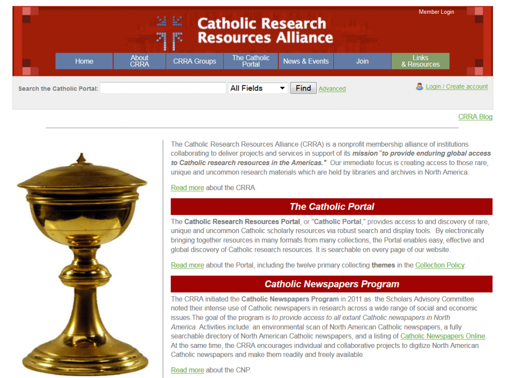 CRRA's search engine allows users to discover thousands of rare Catholic primary sources held by Catholic libraries and archives across North America.