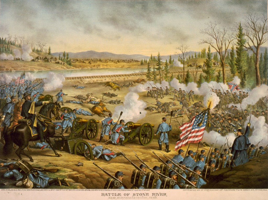The Battle of Stones River (Kurz & Allison print, held by Library of Congress).