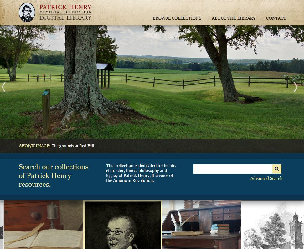 Patrick Henry Digital Library Homepage.