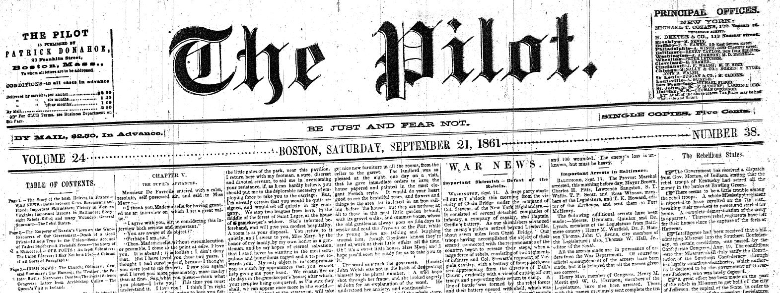 Between Two Extremes: The Boston Pilot on Slavery and the Civil ...